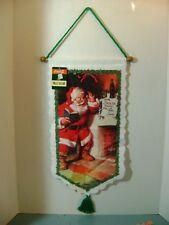 Coca Cola Santa at Fireplace Christmas Wall Hanging Decor with Tag 1992