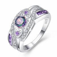 de topacio Purple white CZ Corazon de cristal de circón Anillo de plata 925