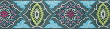 """Amy Butler Gray on Blue Belle Brocade Trim 2"""" BTY 100%  Renaissance Ribbons"""