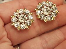 "Gold Tone Rhinestone CZ Flower Cluster Sunburst Wedding Pierced 3/4"" Earrings"