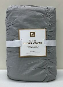 NEW Pottery Barn TEEN Ruched FULL/QUEEN Duvet Cover~Light Gray