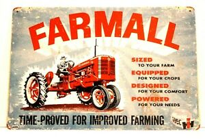 New Farmall Tin Metal Poster Sign Vintage Style Ad Red Tractor Farm Equipment 1