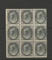CANADA #74i BLOCK of nine Queen Victoria one cent FNH