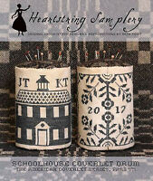 Schoolhouse Coverlet Pin Drum By Heartstring Samplery - Cross Stitch Pattern