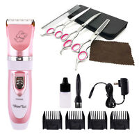 Pet Dog Cat Grooming Scissors Fur Clippers Comb Kit Professional Rechargeable