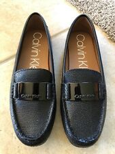 ebe233b56e2 Calvin Klein Lisette Leather Slip-On Dress Flats Loafers (Black Snake) Size  6