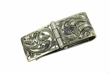 Sterling Hand Engraved Hinged Money Clip by Vogt Silversmiths  #021-003