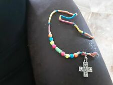 with pendant Vintage Beaded anklet/bracelet