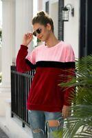 Pullover T-Shirt Velvet Crew Neck Womens Blouse Ladies Long Sleeve Top Shirt