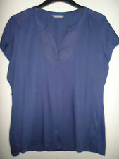 MARKS AND SPENCER JERSEY TYPE STRETCHY NAVY TOP SIZE 18