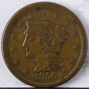 1856 Braided Hair Large Cent VF Slanted 5, dings obverse