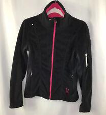 Spyder Women's Small Petite Full Zip Fuzzy Soft Fleece Jacket Black w Pink Trim