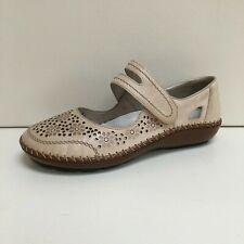 Rieker Damen Beige Leder Laser Schnitt Schuhe, UK 7/Eu 40 , Bnwb