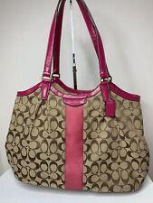 COACH Canvas W/ Pink Stripe Devin Shoulder Tote Bag F31307