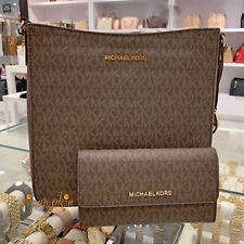 Michael Kors Jet Set Travel Messenger Bag MK Signature + Trifold Wallet Brown