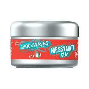 WELLA Shockwaves Messy Matte Hair Styling Clay, Strong Hold, Soft Texture - 75ml