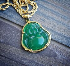 Chinese Gold Green Jade Buddha Pendant Necklace Combo Set