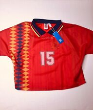 Adidas Women's Medium Red/Blue/Yellow Cropped 2 Layer Spain Soccer Shirt - New