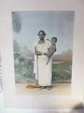 Egypte : Gravure 19° in folio couleur / Négresse et son enfant
