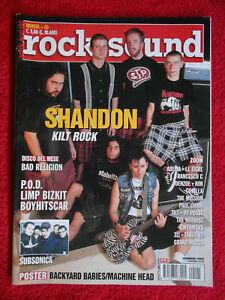 rivista ROCK SOUND 45/2002 POSTER Machine Head Shandon Limp Bizkit Le Tigre Nocd