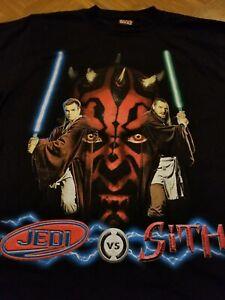 VTG 1999 Star Wars Episode 1 Jedi Vs. Sith Movie Promo T Shirt Size L Darth Maul