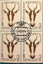 Russia (Soviet Union) USSR - 1984 MNH block of 4 Moscow Zoo 125 years CTO 3 k