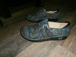 Womens ALEGRIA Navy Floral LEATHER  Shoes SZ 40