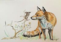 PRINT Original watercolour & ink art painting FOX & MOUSE collectible home decor