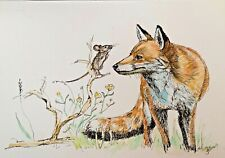 More details for print original watercolour & ink art painting fox & mouse collectible home decor