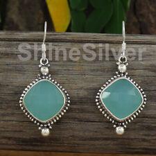 Aqua Chalcedony 925 Sterling Silver Dangle Drop Fine Work Bridle Earrings RE13