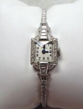 Platinum and Diamond Vintage Ladies Wristwatch w/ 1 carat Diamonds ~Runs~