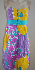 ANTHROPOLOGIE WE LOVE VERA COLORFUL  BIG FLORAL PRINT STRAPLESS DRESS, sz 8