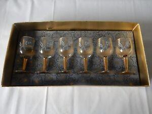 Lovely Set of 6 Vintage Glasses Wheat & Hops Design 50s/60s Excellent