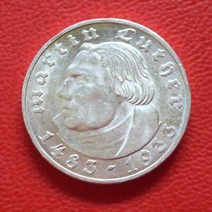 2 Reichsmark Luther 1933 E xf 74500 Ex! Third Reich / Dt. Rich / Km# 79 J#352