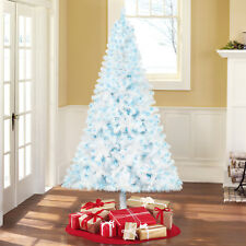 6.5' White Artificial Christmas Tree Pre-Lit 400 Blue Lights Holiday Decor NEW
