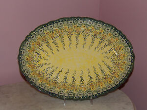 Polish Pottery Basia Scalloped Platter! UNIKAT Signature Exclusive Miss Daisy!