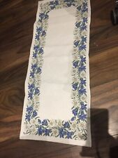 Embroidered Austrian Vintage Retro Blue White Floral Table Runner