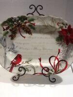 222Fifth Holiday Wishes  Christmas Cardinal New Large Serving Platter