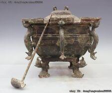 Old Chinese Dynasty Pure Bronze Beast Bowl Ladle Pot Jar Incense Burner Censer