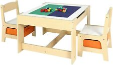 Kids Table and 2 Chair Set Study Activity Toddler Building Block Desk w/ Storage