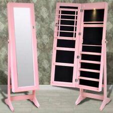 Sieradenkast met LED-lamp en spiegel (roze) sieraden juwelen kast kist