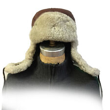 Brown Russian Military Style Aviator Trapper Genuine Shearling Sheepskin Hat 3XL