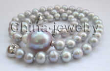 "N8469-18.5"" 8mm gray round + 22mm purple Reborn Keshi freshwater pearl necklace"