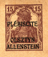 ALLENSTEIN Stationery Postcard Olsztyn Plebiscite GERMAN Stamp Overprint MINT NH