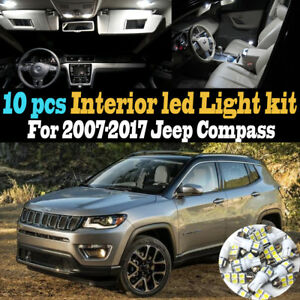 10Pc Super White Car Interior LED Light Kit Package for 2007-2017 Jeep Compass