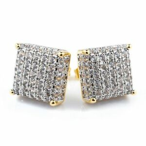 18K Yellow Gold Bling Out Iced AAA Lab Diamond 8G Micropave Square Stud Earring