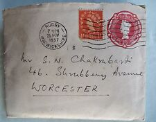 Vtg Used Envelop Queen Elizabeth II 2 1/2 d imprint postage stamp + 1/2d 1957