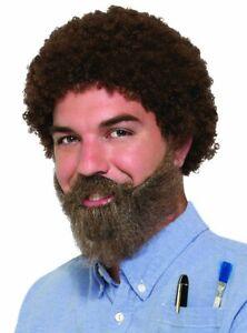80s Man Ross Costume Wig Beard Moustache Set Bob Brown Curly Hair Artist Painter