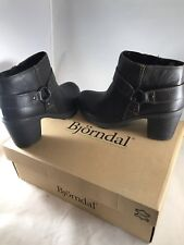 WOMEN'S BJORNDAL 'BLAYDEN'  BROWN LEATHER HARNESS ANKLE BOOTS - NEW