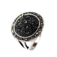 Black Sandy Round Gemstone Women Unisex Hand Ring Small Large XL FR292